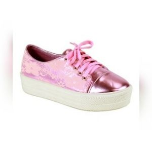 Shoes - Ladies Pink Ola Platform Sneaker